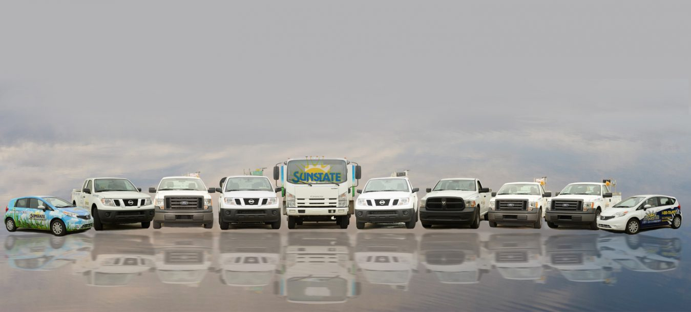 Here is our fleet of pest control trucks